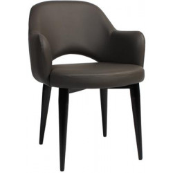 Albury Premium Vinyl Armchair with Black Metal Legs