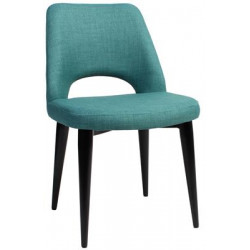 Albury Premium Fabric Side Chair with Black Metal Legs