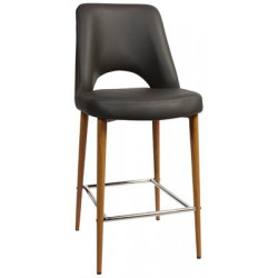 Albury Premium Vinyl 650 Stool with Timber Look Metal Legs