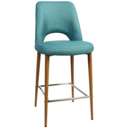 Albury Premium Fabric 650 Stool with Timber Look Metal Legs