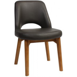Albury Premium Vinyl Side Chair with Timber Legs