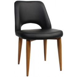 Albury Premium Vinyl Side Chair with Timber Look Metal Legs