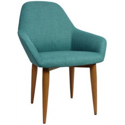 Bronte Premium Fabric Armchair with Timber Look Metal Legs
