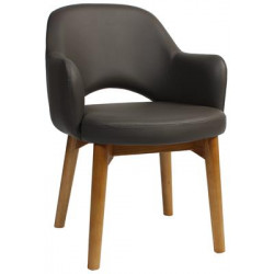Albury Premium Vinyl Armchair with Timber Legs