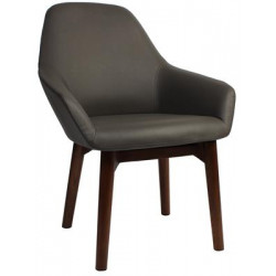 Bronte Premium Vinyl Armchair with Timber Legs