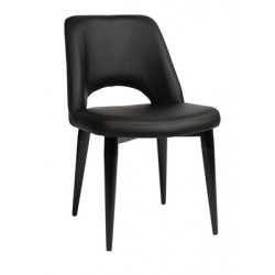Albury Premium Vinyl Side Chair with Black Metal Legs