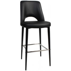 Albury Premium Vinyl 750 Stool with Black Metal Legs