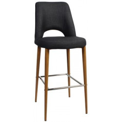 Albury Premium Fabric 750 Stool with Timber Look Metal Legs