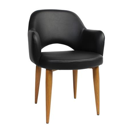 Albury Premium Vinyl Armchair with Timber Look Metal Legs