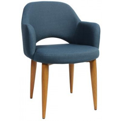 Albury Premium Fabric Armchair with Timber Look Metal Legs