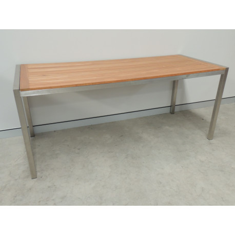 Titan Stainless Steel & Teak Table (Dining Height)