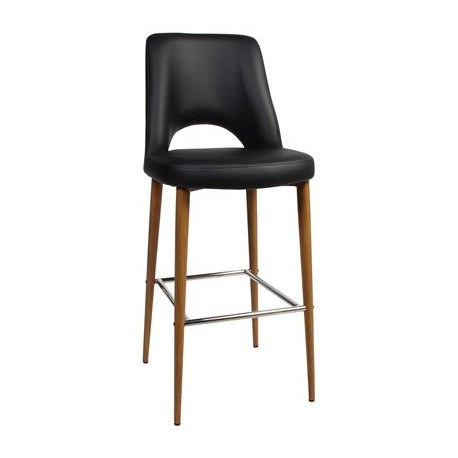 Albury Premium Vinyl 750 Stool with Timber Look Metal Legs