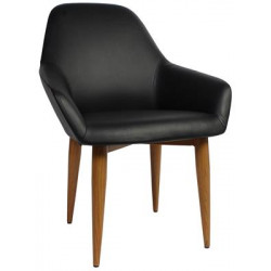 Bronte Premium Vinyl Armchair with Timber Look Metal Legs
