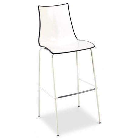 Zebra Bicolore Stool with White Legs